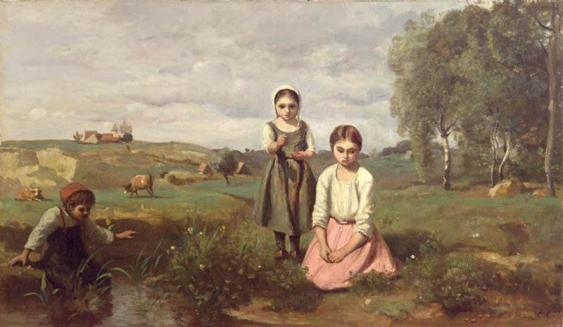 Children at the edge of a stream